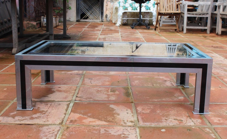 1970s Willy Rizzo Steel Coffee Table with Glass Top In Good Condition For Sale In Malaga, ES