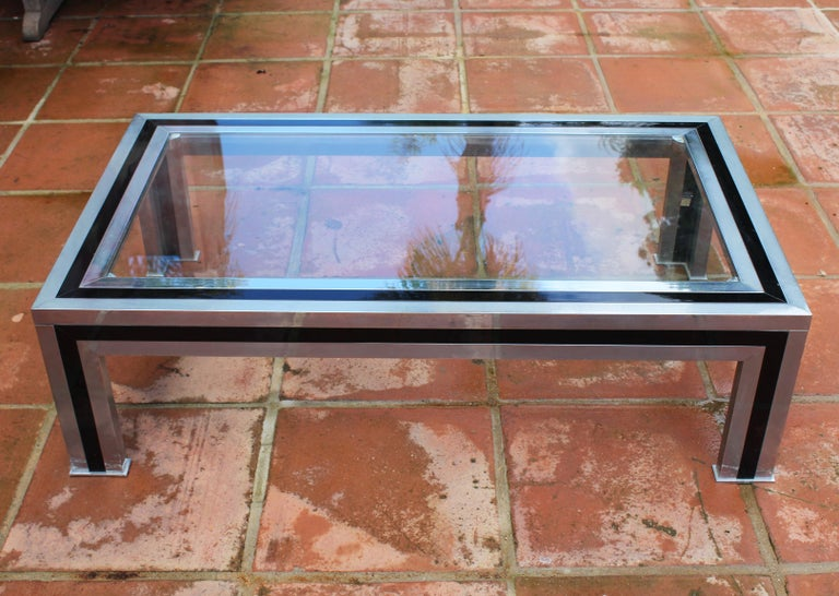20th Century 1970s Willy Rizzo Steel Coffee Table with Glass Top For Sale