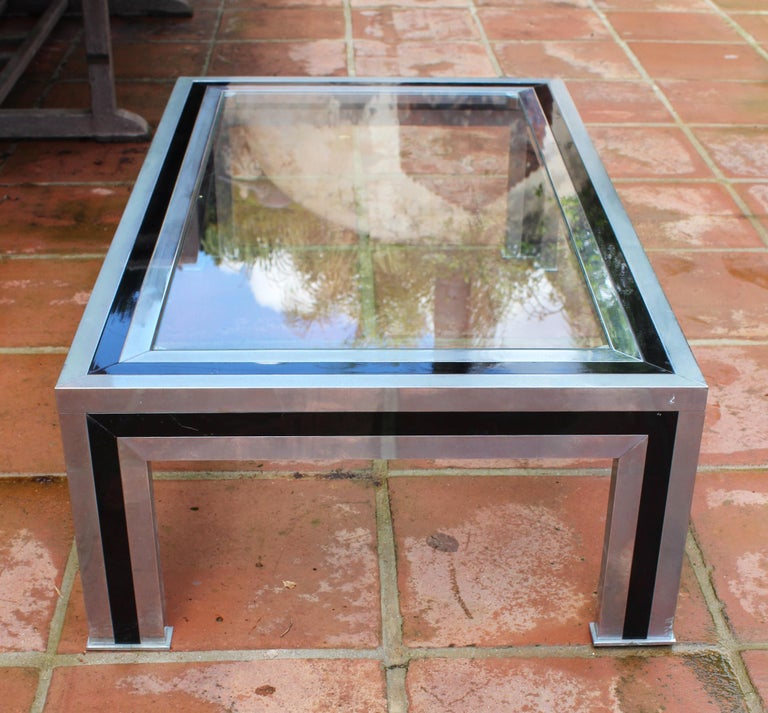 1970s Willy Rizzo Steel Coffee Table with Glass Top For Sale 1