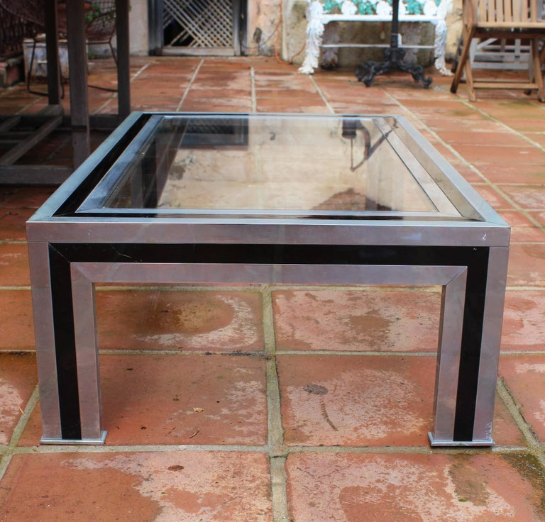 1970s Willy Rizzo Steel Coffee Table with Glass Top For Sale 2