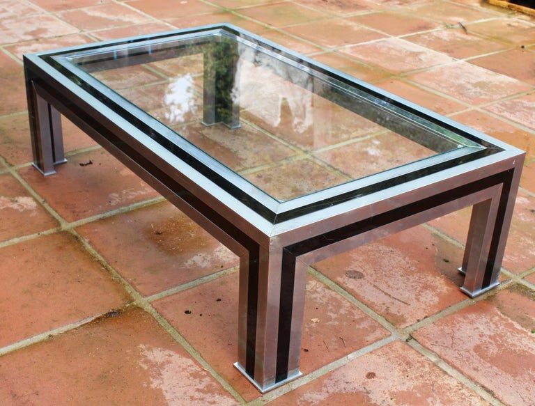 1970s Willy Rizzo Steel Coffee Table with Glass Top For Sale 3