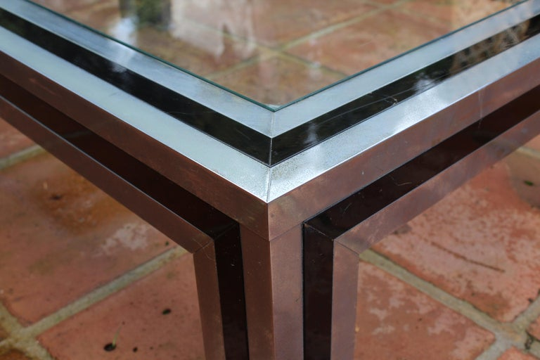1970s Willy Rizzo Steel Coffee Table with Glass Top For Sale 4