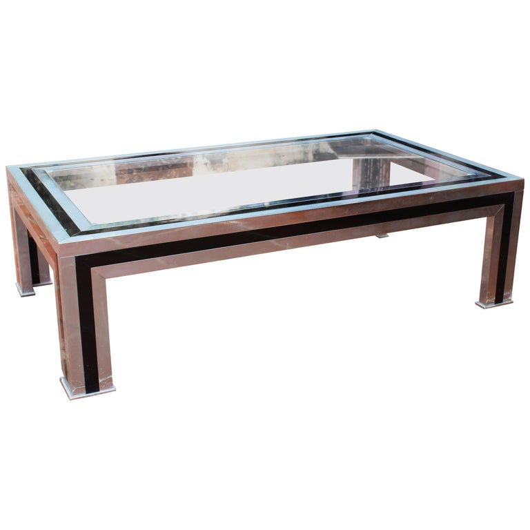 1970s Willy Rizzo Steel Coffee Table with Glass Top For Sale