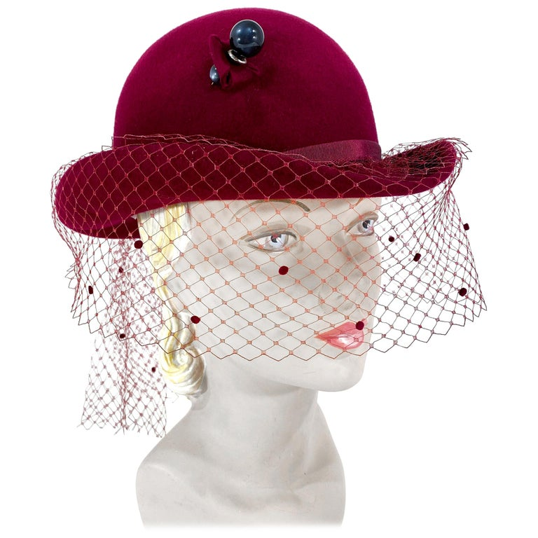 1970s Wine Felt Derby With Hatpin and Veil For Sale