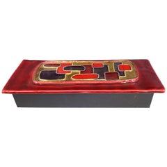 1970s Wood & Ceramic Decorative Red Purple & Gold Box
