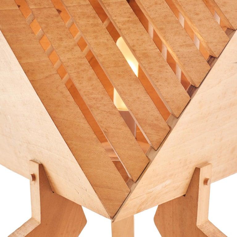 20th Century 1970s Wood Studio Craft Tripod Floor Lamp For Sale