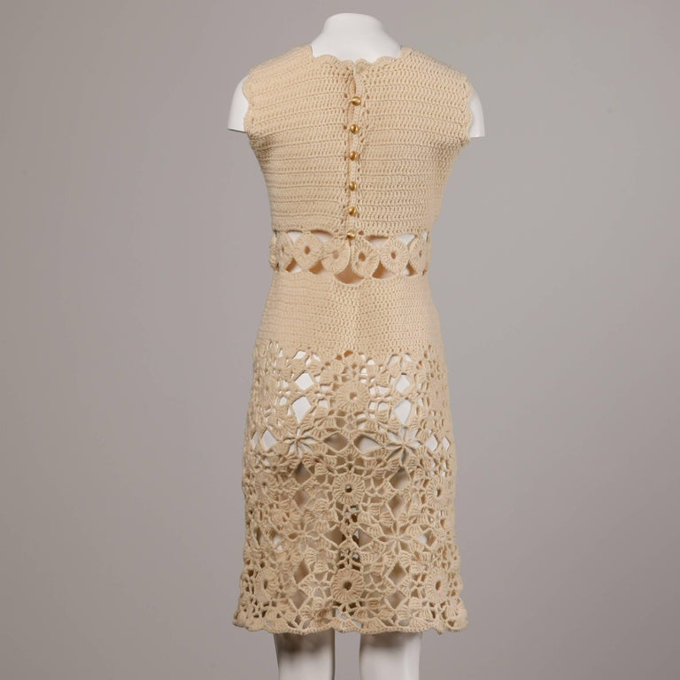 1970s Wool Hand Crochet Dress with Cut Out Midriff In Excellent Condition For Sale In Sparks, NV