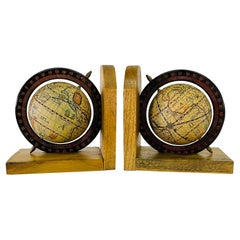1970s World Globe Wood Bookends, Pair