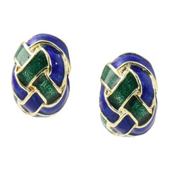 1970s Woven Green and Blue Enamel Gold Earrings