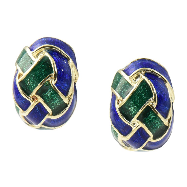 Vintage 1970/'s Gold Green Blue Colourful Enamel Oval Marquise Leaves Geometric Statement Clip On Earrings