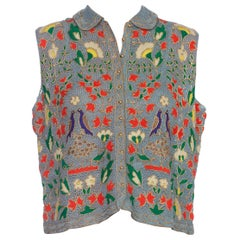 1940S Blue Wool & Brass Handmade Lace Floral Sleeveless Top
