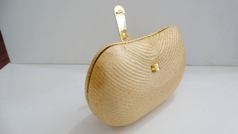1970s Woven Rattan Bag W/ Gold Hardware For Sale 2