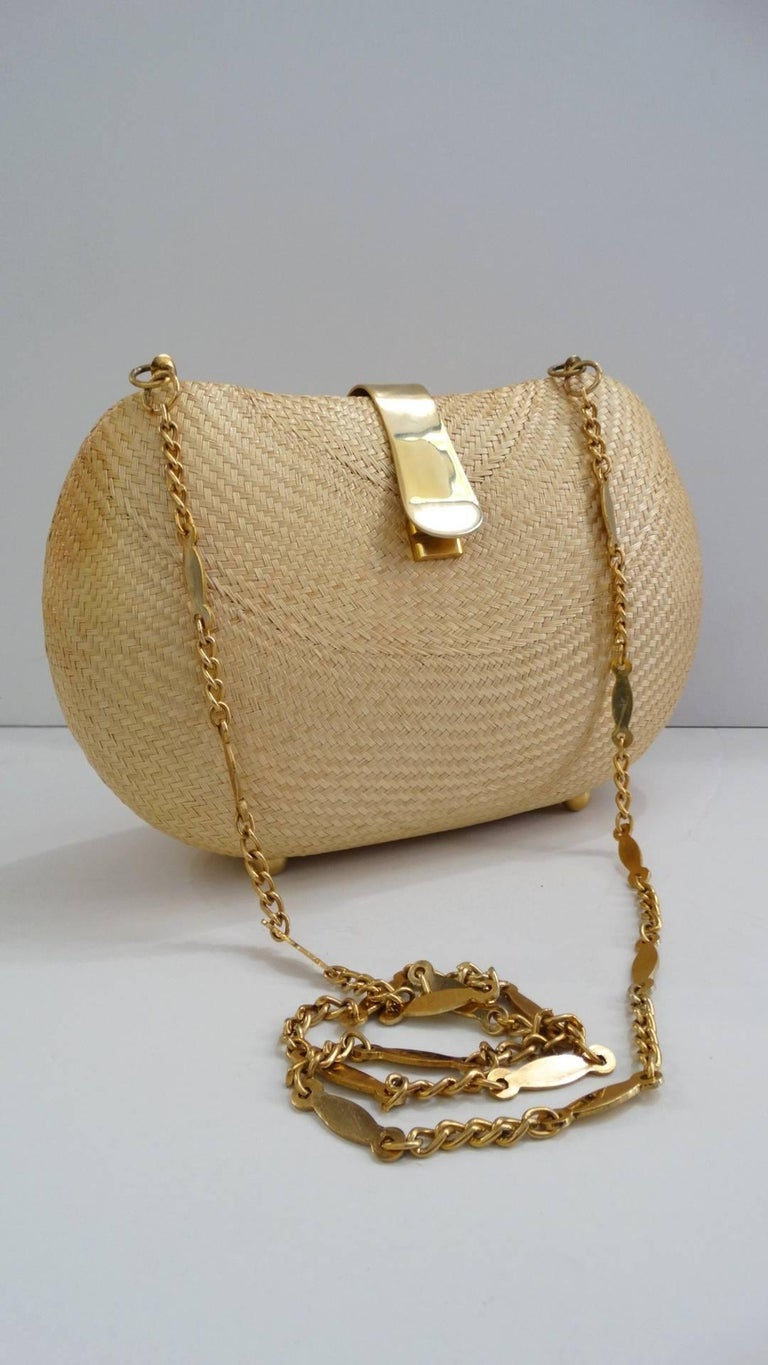 1970s Woven Rattan Bag W/ Gold Hardware For Sale 4