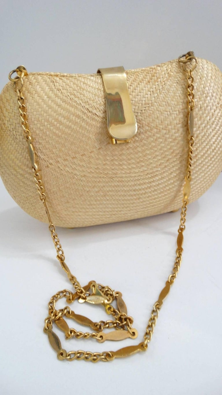 1970s Woven Rattan Bag W/ Gold Hardware For Sale 5