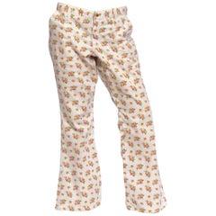 1970S WRANGLER Floral & White Cotton Denim Flared Jeans