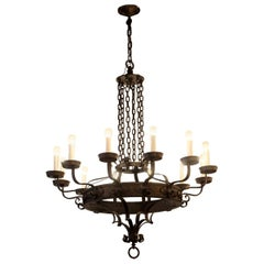 1970s Wrought Iron 12-Light Arts & Crafts Chandelier