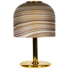 1970s XL Italian Table Lamp Made of Brass with Large Striped Murano Glass Shade
