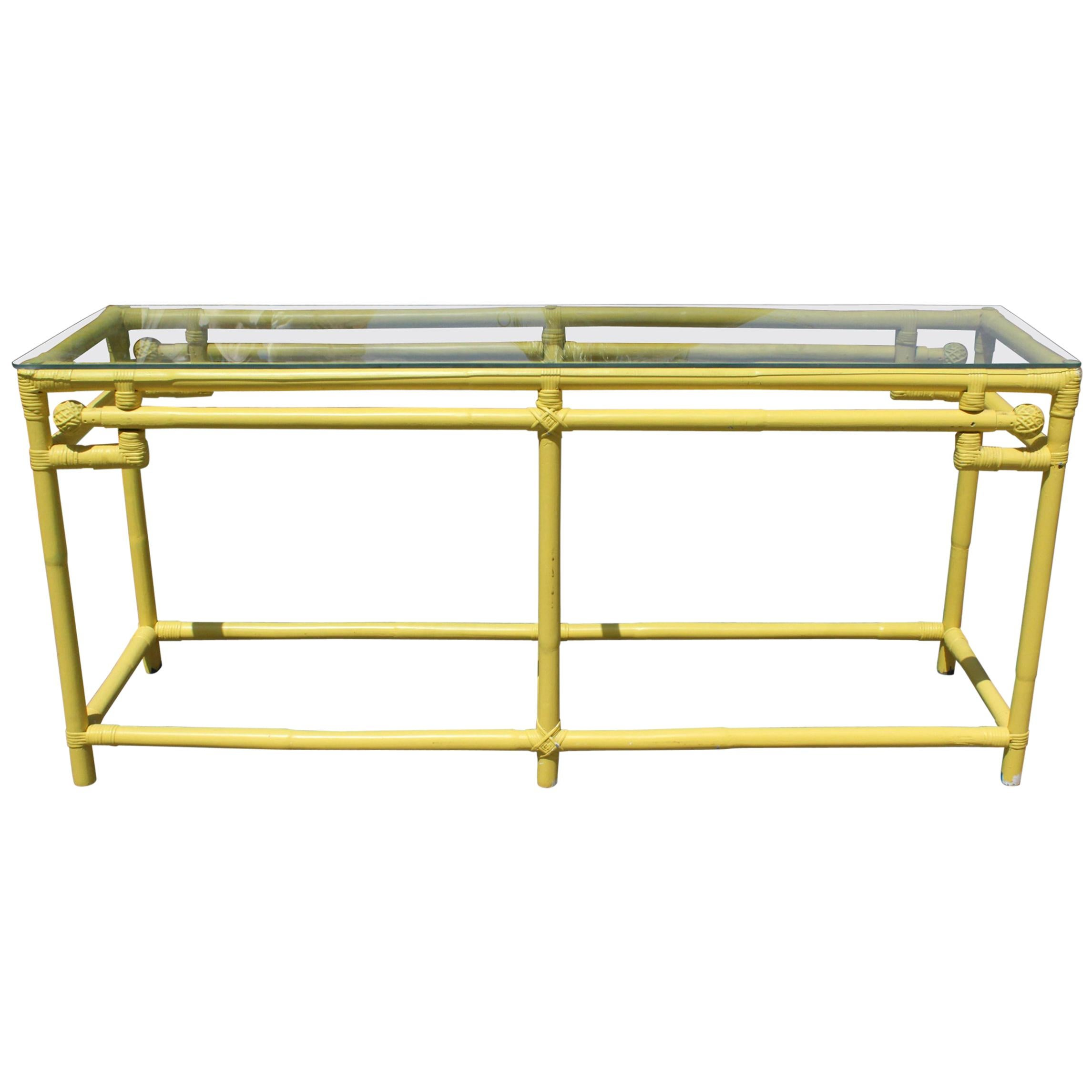 1970s Yellow Bamboo Console Table with Glass Top