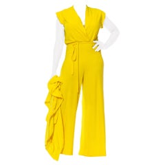 1970S Yellow Cotton Blend Terry Cloth Short Sleeve Tracksuit Jumpsuit Ensemble