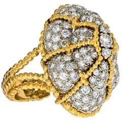 1970s Yellow Gold Bombe Diamond Rope Shank Ring