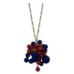 1970's Yellow Gold Chain with Lapis and Coral Bead Pendant Necklace