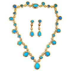 1970s Yellow Gold Turquoise Necklace Earrings Set