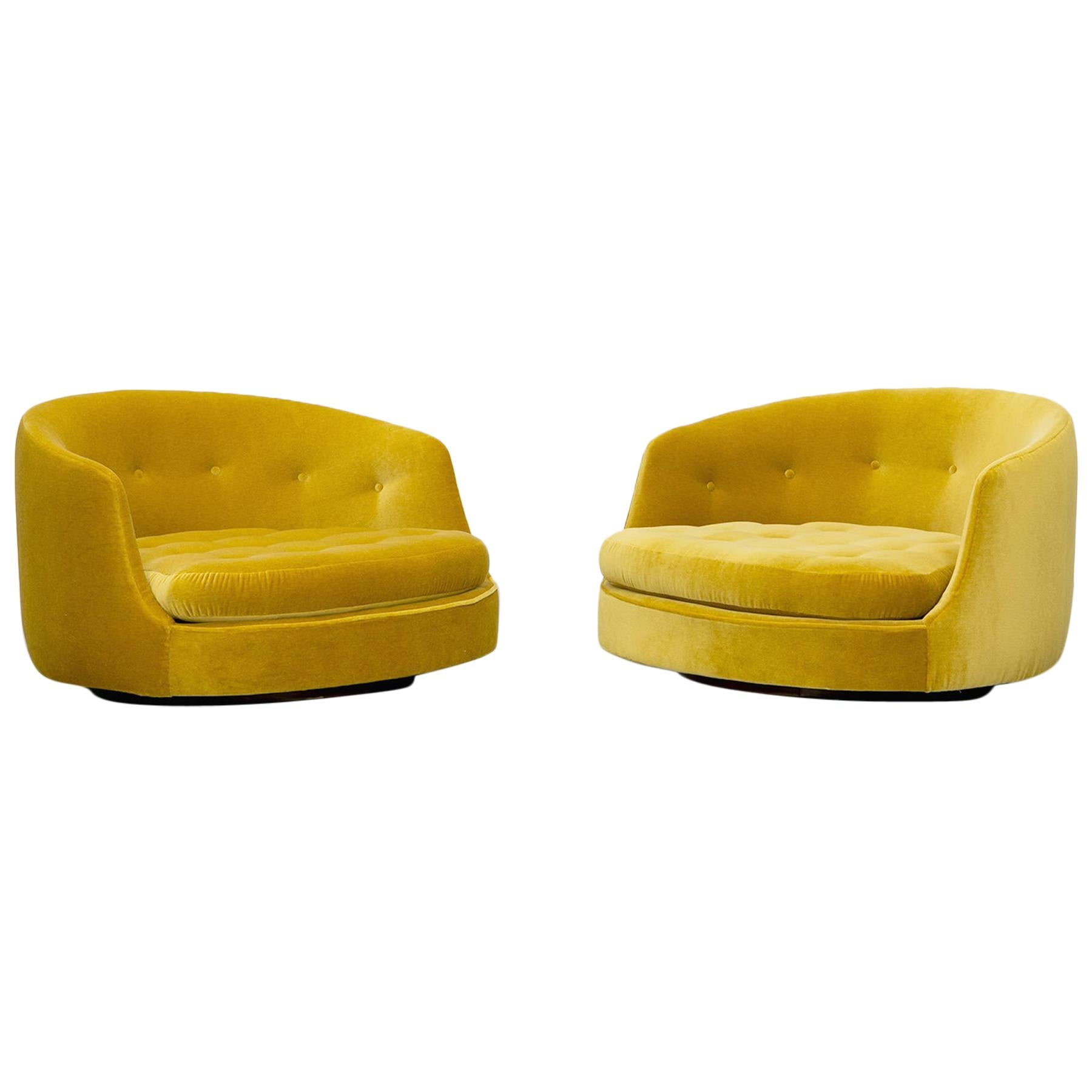 1970s Yellow New Upholstery Pair of Swivel Lounge Chair by Milo Baughman