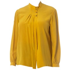 1970S Yellow Ochre Silk Pleated Front Blouse Made In Italy With Hand Finishing
