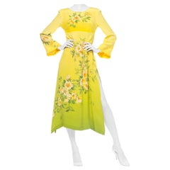 1970S  Yellow Ombré Dress Made From Hand Painted Japenese Kimono Silk