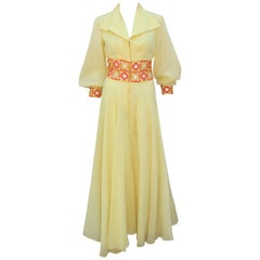 1970's Yellow & Orange Palazzo Jumpsuit With Crochet Waist