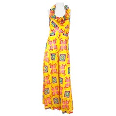 1970s Yellow Printed Maxi Dress with Ruffled Neckline