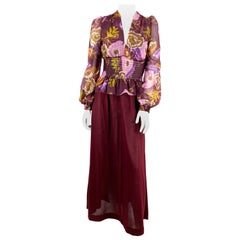 1970s Young Edwardian Floral Printed Bohemian Dress