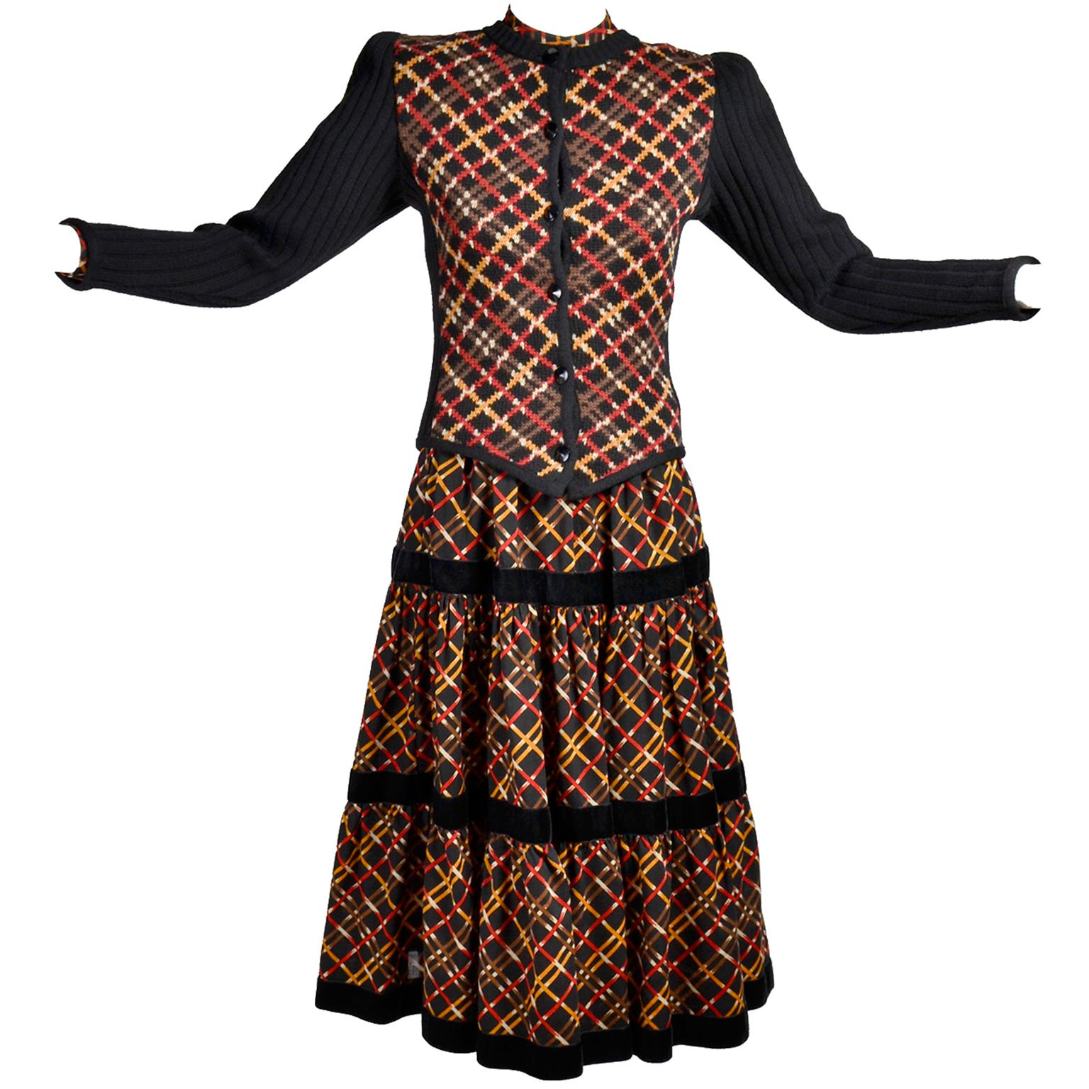 1970s YSL Yves Saint Laurent Russian Collection Plaid Skirt Blouse & Sweater Set