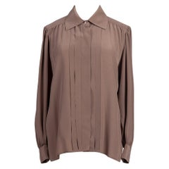 1970s YSL Yves Saint Laurent Taupe Silk Top Pleated Front & Back