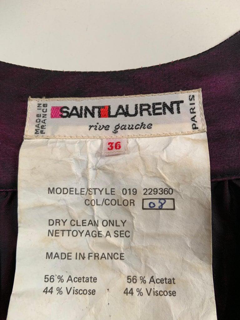 1970's Yves Saint Laurent Aubergine and Black Evening Dress or Caftan For Sale 6