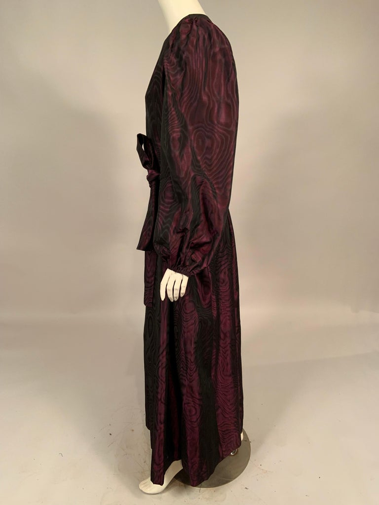 1970's Yves Saint Laurent Aubergine and Black Evening Dress or Caftan In Excellent Condition For Sale In New Hope, PA