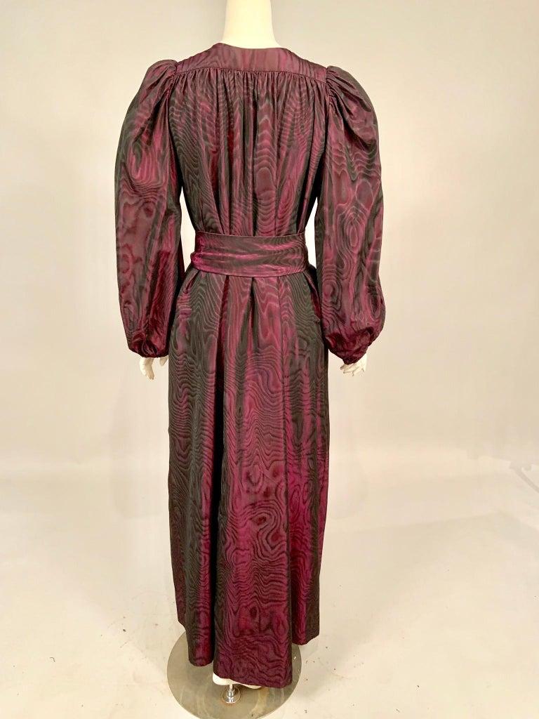 Women's or Men's 1970's Yves Saint Laurent Aubergine and Black Evening Dress or Caftan For Sale