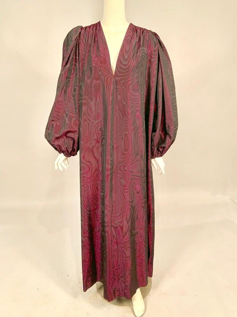 1970's Yves Saint Laurent Aubergine and Black Evening Dress or Caftan For Sale 1