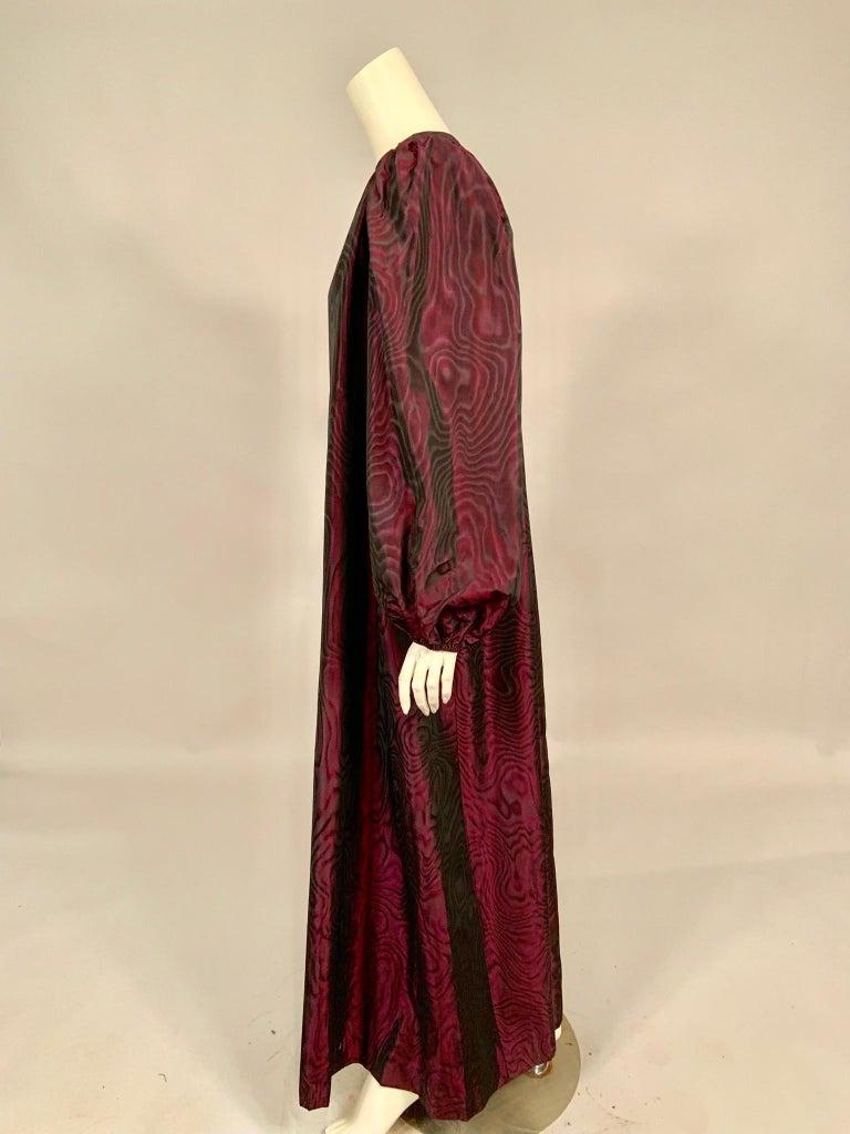 1970's Yves Saint Laurent Aubergine and Black Evening Dress or Caftan For Sale 4