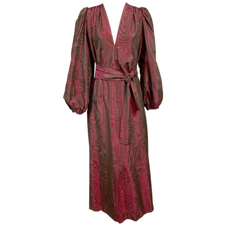 1970's Yves Saint Laurent Aubergine and Black Evening Dress or Caftan For Sale