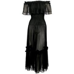 1970'S YVES SAINT LAURENT Black Chiffon Peasant Dress
