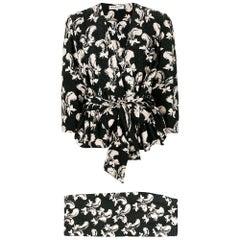 1970s Yves Saint Laurent Black Printed Skirt Suit