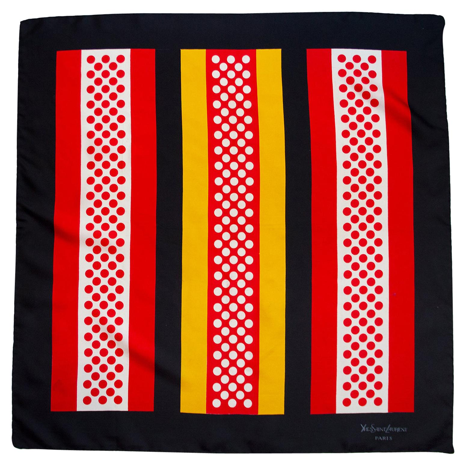 1970s Yves Saint Laurent Black, Red and Yellow Mod Era Silk Scarf
