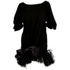 1970's Yves Saint Laurent Black Silk Dress with Marabou Feather Trim