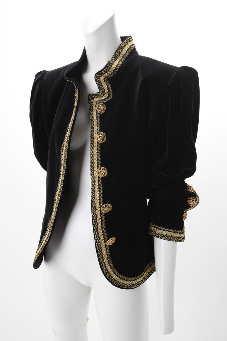 1970s Yves Saint Laurent Black Velvet Jacket w/ Soutache Embroidery F40; Fitted peplum jacket with mandarin collar, Gilt metal button closure.