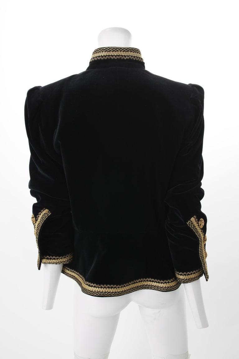 1970s Yves Saint Laurent Black Velvet Jacket w/ Soutache F40 YSL In Good Condition In New York, NY