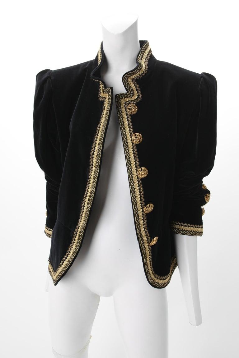 Women's 1970s Yves Saint Laurent Black Velvet Jacket w/ Soutache F40 YSL