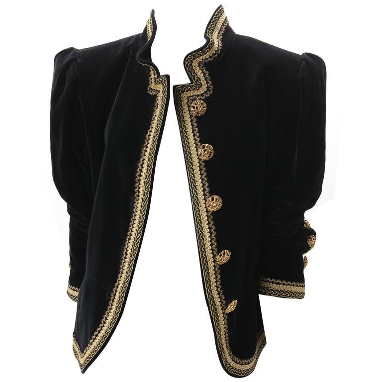1970s Yves Saint Laurent Black Velvet Jacket w/ Soutache F40 YSL