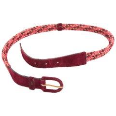 1970s Yves Saint Laurent Bordeaux Braided Belt