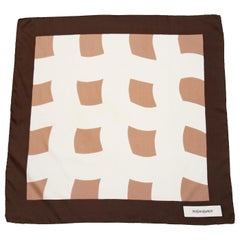 1970s Yves Saint Laurent Brown and Cream Silk Scarf
